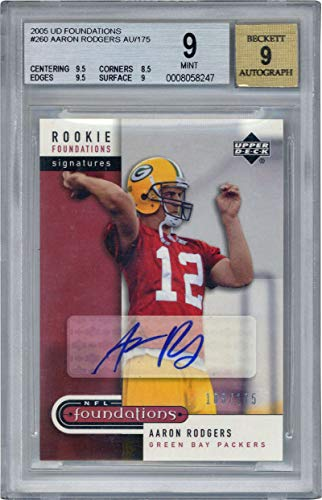 a5785cad Aaron Rodgers Signed Auto 2005 UD Foundations AU Football Card Beckett BGS  9 9