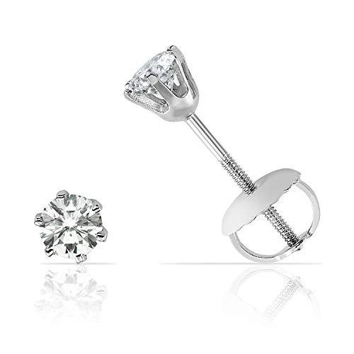 Elegant Six Prong Diamond Screw Back Stud Earrings in Solid 14K White Gold (J-K Color, I2-I3 Clarity) 0.2 carats ()