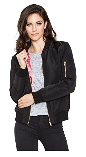 Tabeez Women's Military-Inspired Bomber Jacket with Satin Finish and Pockets