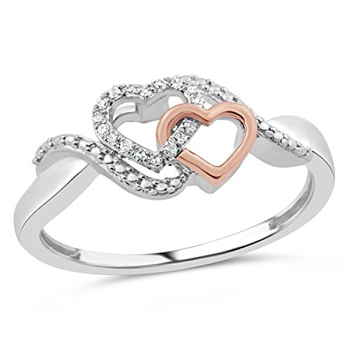 Diamond Promise Ring in 10k Rose Gold and Rhodium Plated Sterling Silver 1/20 cttw by Diamond Classic Jewelry