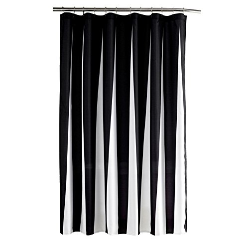 Striped Black And White Water-Repellent Mildew Resistant Fabric Shower Curtain For Bathroom 70 By 72 Inch With 12 Plastic Hooks Machine Washable by top choice textile