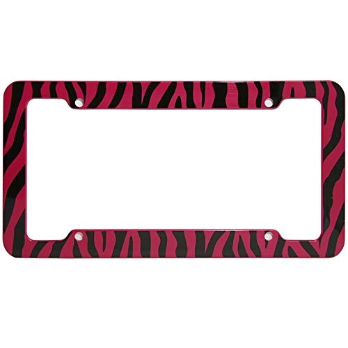 (Motorup America Auto License Plate Frame Cover 2-Pack - Fits Select Vehicles Car Truck Van SUV - Wild Red Zebra Print)