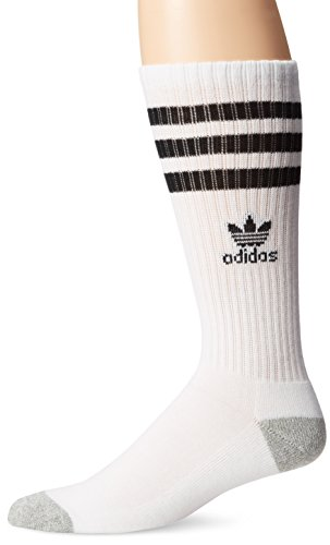 - adidas Men's Originals Roller Crew Socks (1-Pack), White/Black/Heather Aluminum, One Size