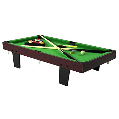 Cheap Sunnydaze 36-Inch Mini Tabletop Pool Table Set with Triangle, Balls, Cues, Chalk and Brush