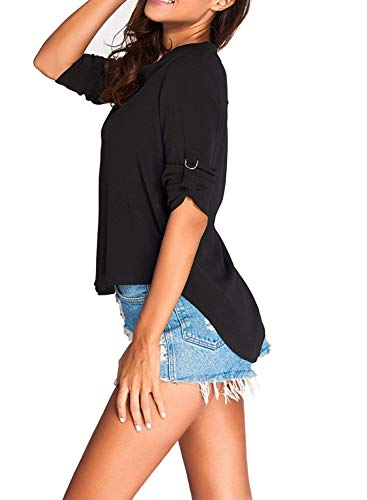 Cou Mousseline Bouffant Classique Elgante Chemise Manches Manche 3 Top Schwarz De Femme Et Shirt Casual Blouse Mode Bandage Uni V Qualit Irrgulier 4 Fille Bonne Chemisiers PZqC6