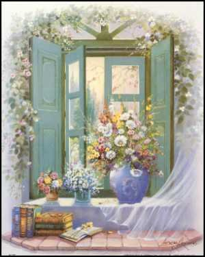 Window Floral Paper Tole 3D Kit 8x10