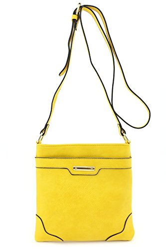 [Women's Fashion Medium Size Crossbody Bag with Gold Plate Yellow] (Yellow Purses)