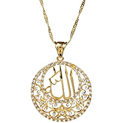 Glaze Round Pendant Jewelry 24k Gold Plated Religious Islamic Muslim Allah Crystal Pendant