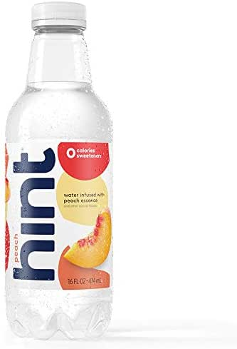 Hint Water Peach, (Pack of 12) 16 Ounce Bottles, Pure Water Infused with Peach, Zero Sugar, Zero Calories, Zero Sweeteners, Zero Preservatives, Zero Artificial Flavors