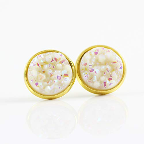 - Metallic White Faux Druzy Gold-tone Stud Earrings