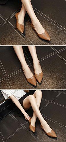 Flats Ballet Leather Slip Shoes Low PU Toe QZUnique Brown Women's on Pointy Classic wxHPC
