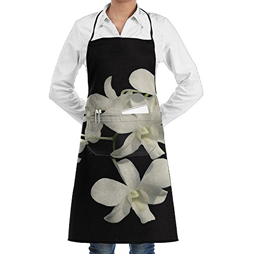 ZhiqianDF A Beautiful Orchid Flower Bud Flower Bud White Flower Flora White Classic Baker Black One Size Apron With Pockets - William John Painter