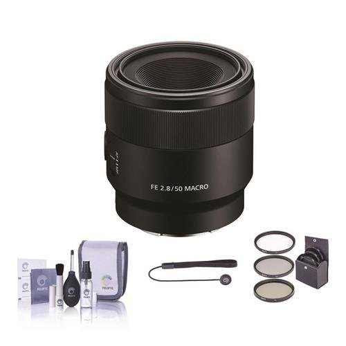 Sony FE 50mm F/2.8 Macro Lens for E-Mount Cameras - Bundle With 55mm Filter Kit, Cleaning Kit, Capleash II