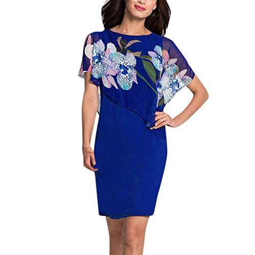 (Nadition Women Fashion Chiffon Stitching Floral Print Shawl Dress Ladies Elegant Sleeveless V-Neck Slim Fit Dress Navy)