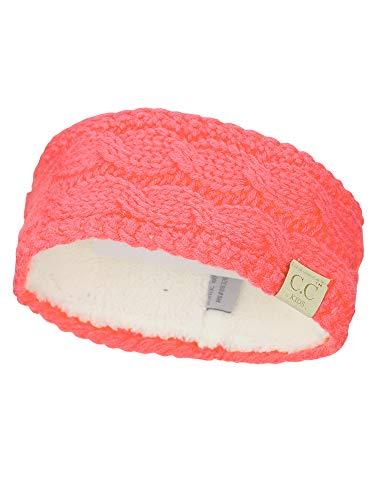 C.C Childrens Kids Winter Warm Cable Knit Fuzzy Lined Ear Warmer Headband