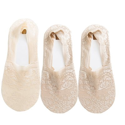 Maivasyy 3 paires de chaussettes Femmes d'été de modèles minces Invisible Ultra Léger Chaussettes Chaussettes de coton dentelle printemps bas, 2 la peau foncée 1 Couleur