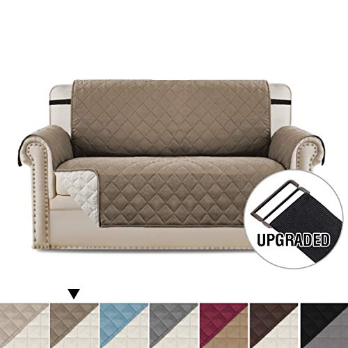 H.VERSAILTEX Reversible Sofa Slipcover Water Repellent Sofa Cover Couch Covers for Dogs Furniture Protector, 2 Inch Wide Elastic Straps Anti-Slip Couch Slipcover (Loveseat: Taupe/Beige)