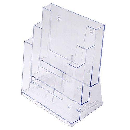 Prospekthalter DIN A4 dreistufig, Aufsteller Prospektständer Flyerhalter Acryl
