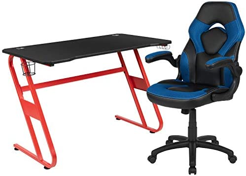 Flash Furniture Red Gaming Desk and Blue/Black Racing Chair Set