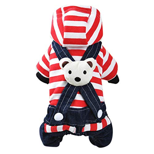 EraseSIZE Dog Puppy Dress Cat Strap Denim Pants Pet Dog Clothes Apparels - Classic and warm Knitwear Shirt & Soft and comfortable for samll Medium Large dogs (XL, Red) by EraseSIZE