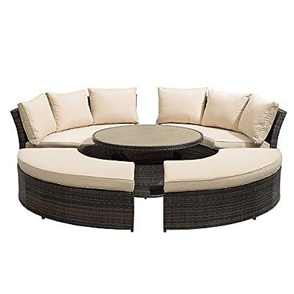 Fine Nova Windsor Outdoor Rattan Round Set Garden Sofa Daybed Inzonedesignstudio Interior Chair Design Inzonedesignstudiocom