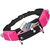 Athlé Running Belt - 2 10oz Water Bottles, Large Fanny Pack Pocket Fits All Phones and Wallet, Bib Fasteners, Adjustable One Size Fits All Waist Band, Key Clip, 360° Reflective - Pink Speed Sash