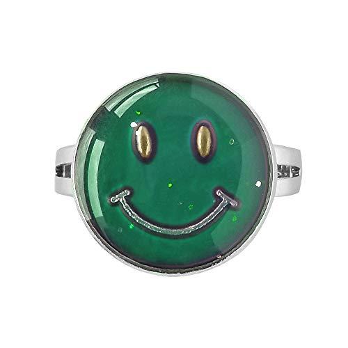(Inspiration Mood Ring Emoji Smile Face Color Change Adjust Size Decorations Finger Ring)
