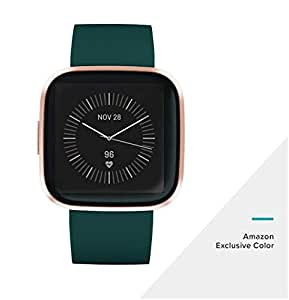 Fitbit Versa 2 (NFC), Health & Fitness Smartwatch with Heart Rate, Music, Sleep & Swim Tracking, One Size (S & L Bands Included), Emerald/Copper Rose