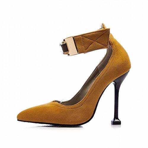 Charm Foot Womens Punta A Punta Cinturino Alla Caviglia Con Tacchi Alti Scarpe Gialle Marroni