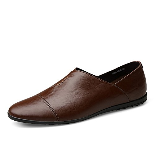 Color minimalista Dimensione stile in on da mocassino slip EU scuro Meimei Marrone shoes Mocassino foderata 42 con uomo leggero tacco piatto pelle OqaaSIw7H