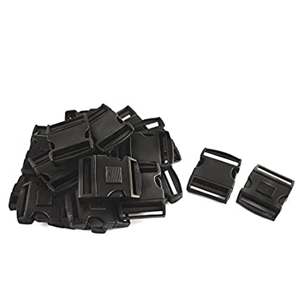 eDealMax plástico Maleta Mochila Bolsa Correa lateral de liberación rápida Hebilla 51mm 20pcs Negro