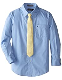 Nautica boys Big Boys Dress Up Poplin Shirt and Tie Set