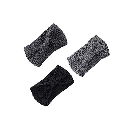 Women Hair Ball Knitting Headband Elastic Handmade Bow Twisted Design Hairband - 3pc Fashion Knit Twist Hair Band, Decorative-Bowls Outdoor Blue Silver Table Gold Set Lights in ()