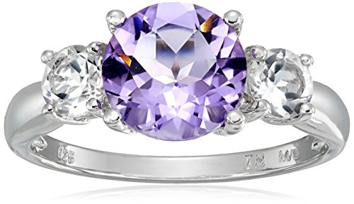 Amethyst and White Topaz Three Stone Ring in Sterling Silver, Size (White Amethyst)