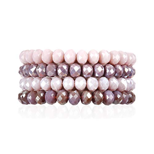 (RIAH FASHION Multilayer Beaded Stretch Stacking Bracelets - Multi Strand Colorful Sparkly Beads Statement Wrap Slip-on Cuff Bangles (Sparkly Mix - Lavender Purple))