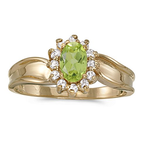 FB Jewels 14k Yellow Gold Genuine Green Birthstone Solitaire Oval Peridot And Diamond Wedding Engagement Statement Ring - Size 8 (2/5 Cttw.) ()
