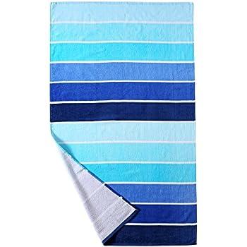 beach towel. 100  Cotton Beach Towel Pool Gradient Blue Striped 30 x 60 Amazon com