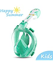 ORSEN Full Face Snorkel Mask Foldable 180 Panoramic View Free Breathing Full Face Snorkeling Mask Snorkel Set with Detachable Camera Mount, Dry Top Set Anti-fog Anti-leak for Adults & Kids (Green, XS)