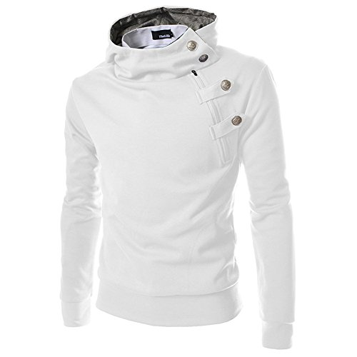TheLees Mens Casual Luxury Buckle Hoodie Slim Cotton Sweatshirts White (Buckle Hooded Sweatshirt)