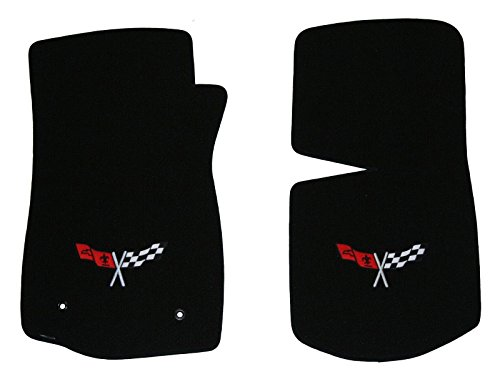 [1968-1982 C3 Corvette Classic Loop Black Front Floor Mats Set with Crossed Flags Logo in Silver & Red] (1982 Flag)