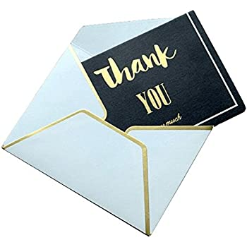 amazon com black thank you cards mini greeting cards with gold