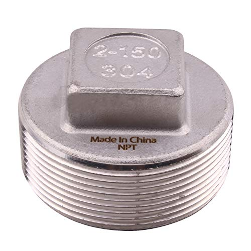 - Cast Pipe Fitting Plug - Stainless Steel 304 Square Head Cored Plug, Class 150, 2