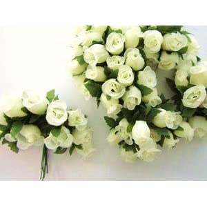 "144pc Poly Silk Artificial Rose Buds Flower 4"" Stem Wedding Bouquet (H415-Ivory) US SELLER SHIP FAST 85"