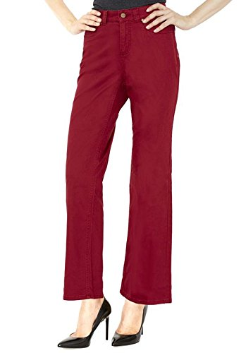 Croft & Barrow Pottery Red Straight Leg Woman's Pants - Soft Stretch Dress Trousers With Slimming Control Top - Size 14 - by ()