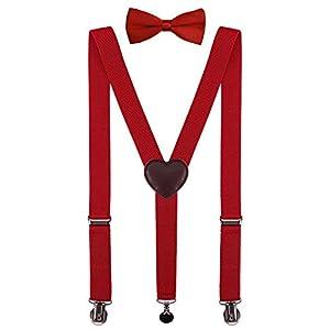 PZLE Mens Boys Suspenders and Bow Tie Set Adjustable
