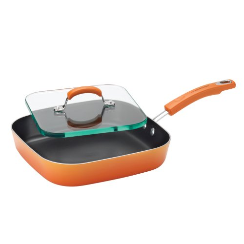 Rachael Ray Porcelain Enamel II Nonstick Square Deep Griddle and Glass Press, 11-Inch, Orange Gradient
