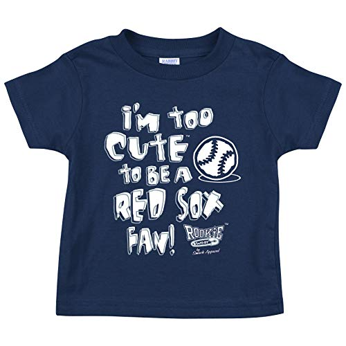 (Rookie Wear by Smack Apparel New York Baseball Fans. I'm Too Cute to be a Red Sox Fan Navy Toddler Tee (2T-4T) (Toddler Tee, 2T))