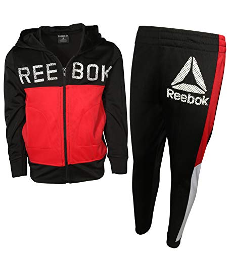 Reebok Boys 2-Piece Tricot Performance Zip Hoodie and Jogger Tracksuit Set, True Red, Size 5'
