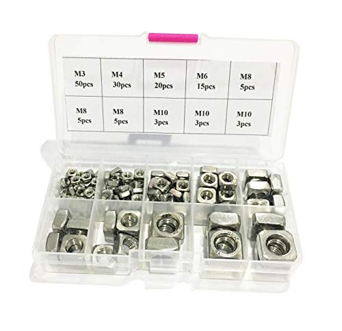 KINPAR 304 Stainless Steel Machine Screw Nuts 304 Square Nuts M3 M4 M5 M6 M8 M10 Metric Assortment Kit Nut 139Pcs by KINPAR