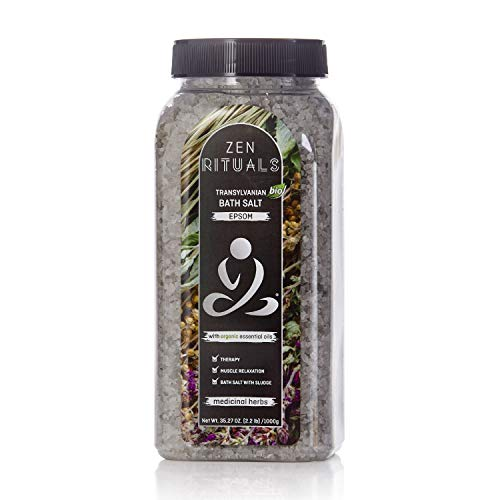 Zen Rituals Therapeutic Bath Salt Epsom With Essential Organic Oils Medicinal Herbs, 2.2 lbs